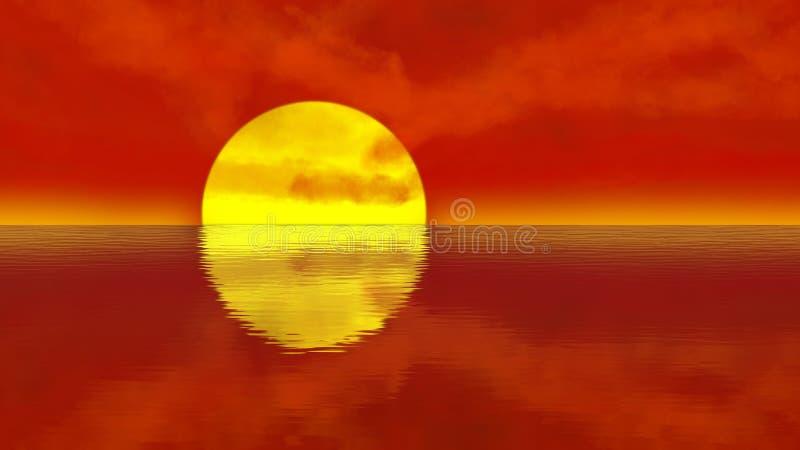 Orange solnedgång över lugna vattenkrusningar vektor illustrationer