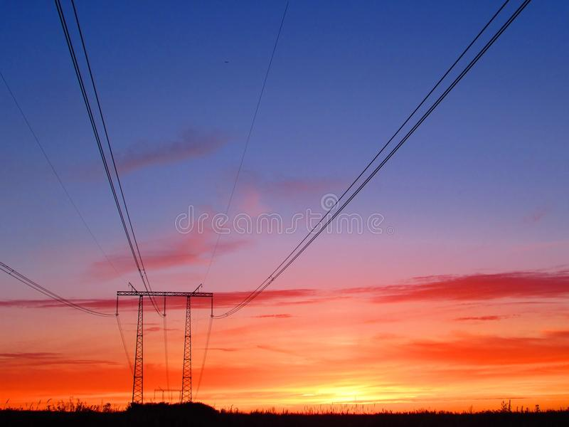 orange solnedgång royaltyfria bilder