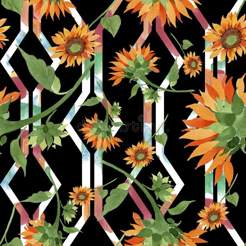 Orange solrosblomma för vattenfärg Blom- botanisk blomma Seamless bakgrund mönstrar stock illustrationer