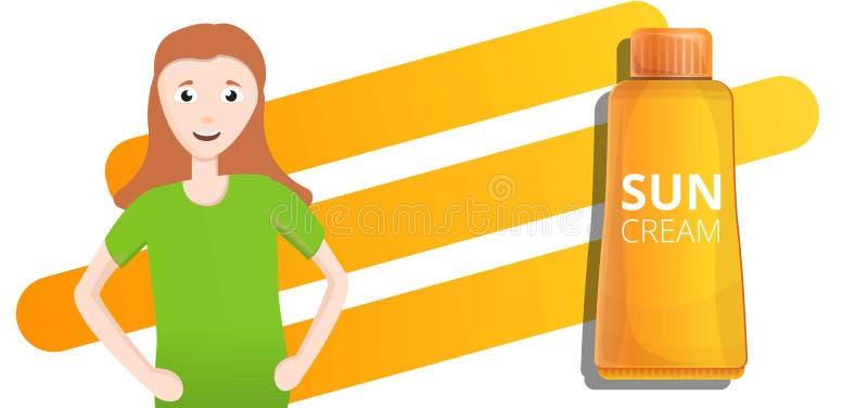 Orange Sonnencremerohr-Konzeptfahne, Karikaturart stock abbildung
