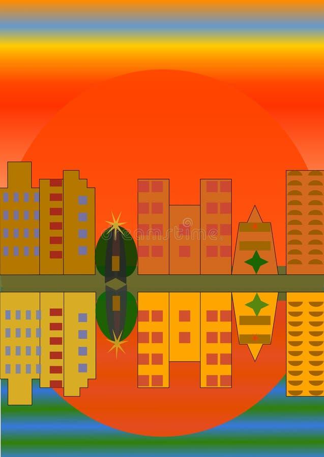 Orange Sonnenuntergang über der Stadt vektor abbildung