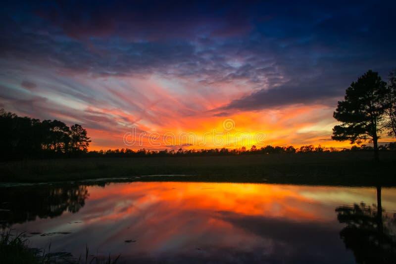 Orange Sonnenuntergang über einem Teich lizenzfreie stockbilder