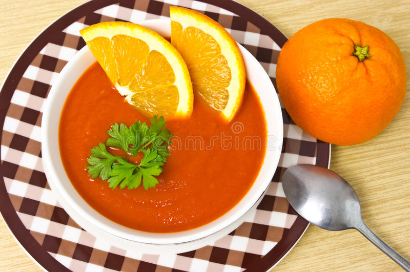 orange soup royaltyfri foto