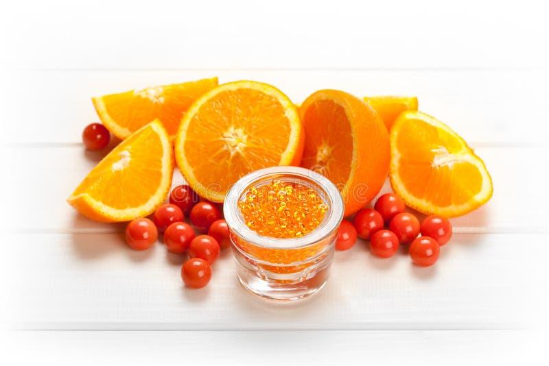 Orange Spa - vruchten en badzout stock foto