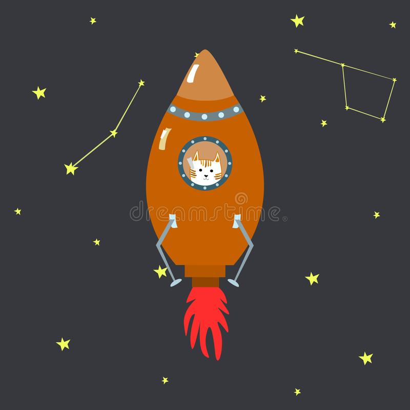 Free Orange Space Shuttle With Cute Cartoon Style Ginger Cat Vector Illustration Royalty Free Stock Image - 109692156