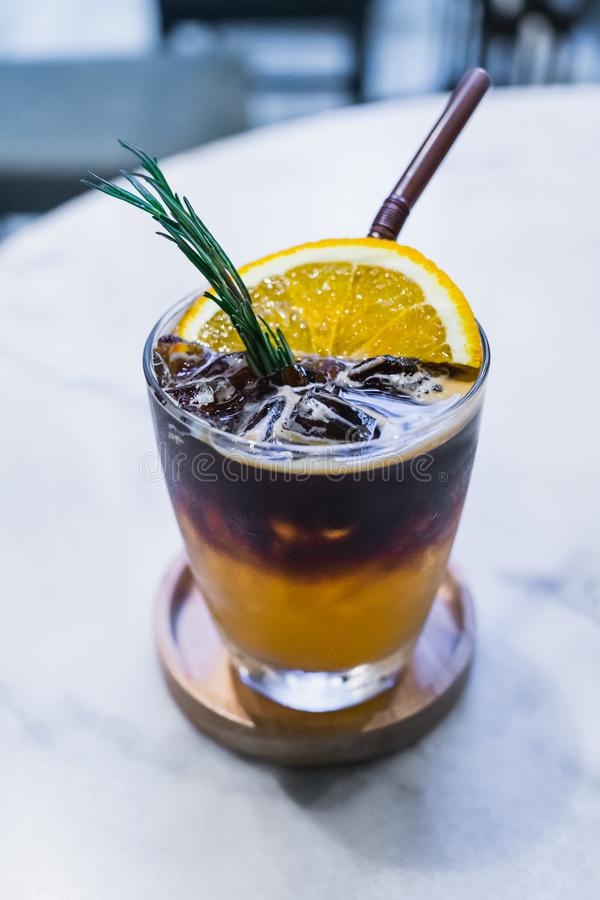 Orange spiced cold brew coffee royalty free stock image
