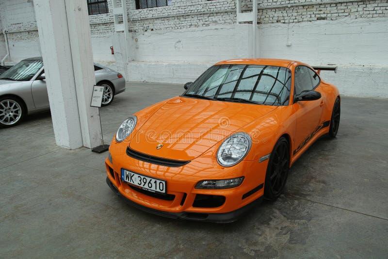 Orange sports car, Porsche 911 GT3 RS stock images