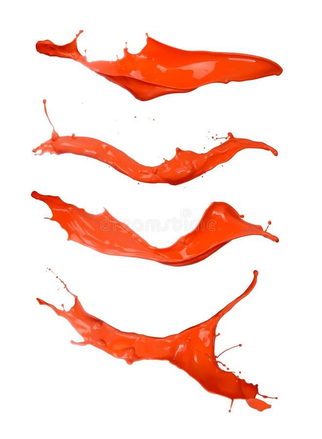 Orange spritzt lokalisiert auf weißem Hintergrund stockbilder
