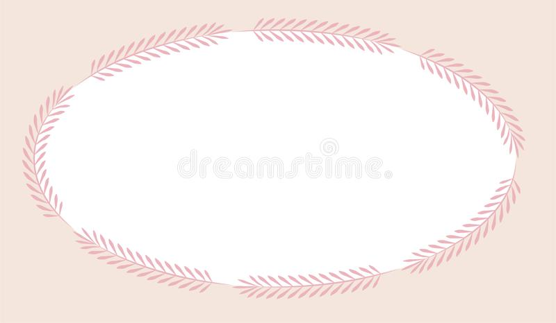 Pink rectangular frame with simple gray oval leaves. stock illustration