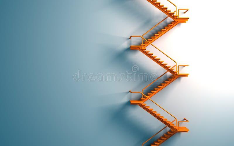 Orange stairway on the blue wall