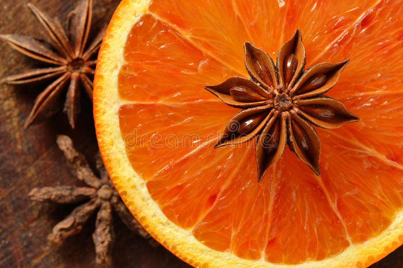 Orange and star anise stock photography