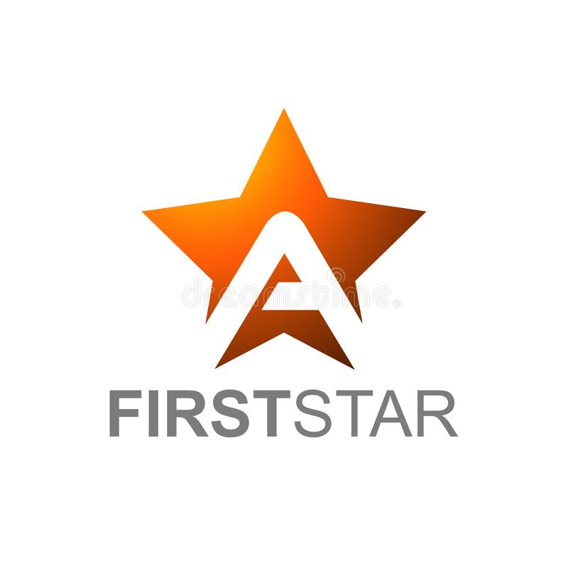 Orange Star Logo With Letter A with first star text vector illustration