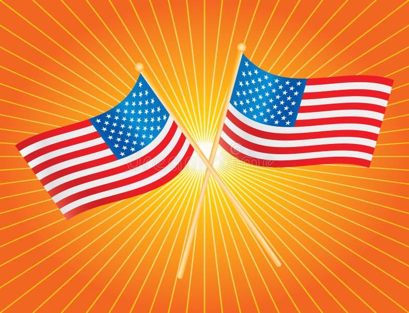 Orange starburst der amerikanischer Flaggen lizenzfreie abbildung