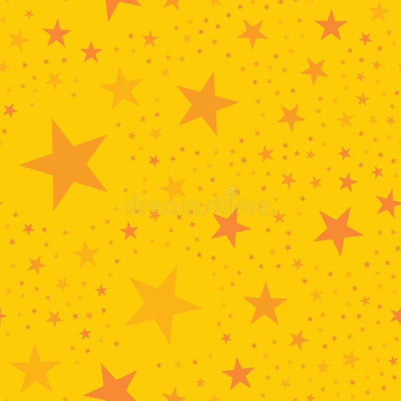 Orange stars pattern on yellow background. Ravishing endless random scattered orange stars festive pattern. Modern creative chaotic decor. Vector abstract vector illustration