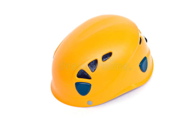 Orange steigender Sturzhelm stockbild