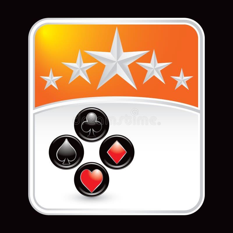 Orange Sternhintergrund mit Spielkarteklagen lizenzfreie abbildung