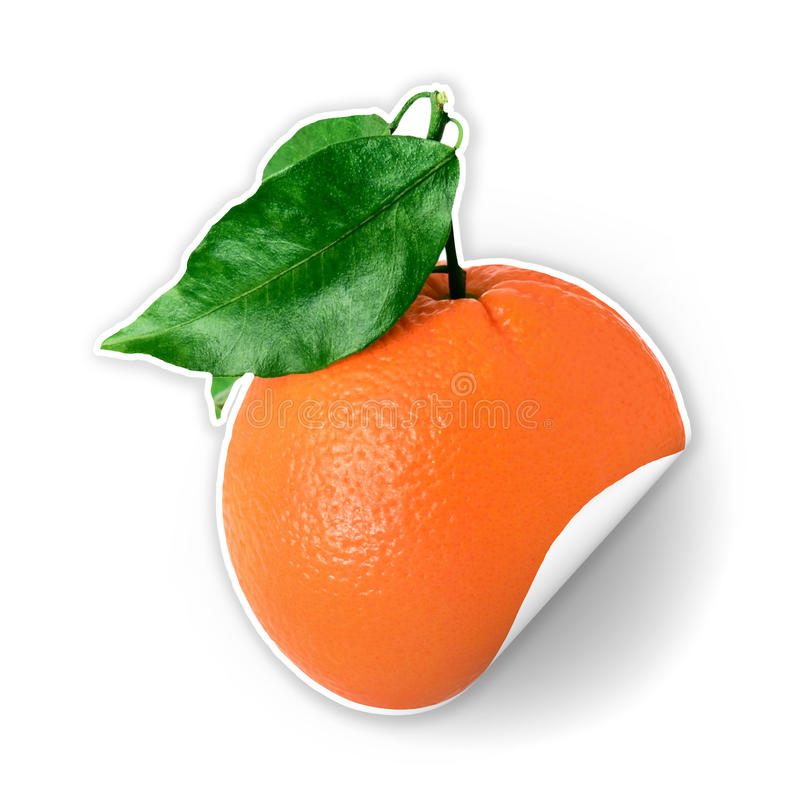Orange sticker with green leaf stock photography