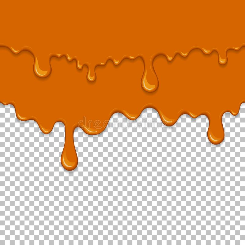 Orange sticky liquid seamless element. Realistic dripping slime isolated object. Dessert background with oozing honey. Popular kids sensory game. Gold caramel royalty free illustration