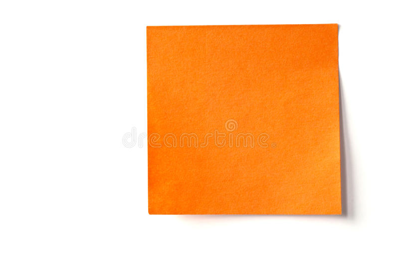 Orange sticky note isolated on white. Empty orange sticky note isolated on white background stock photos