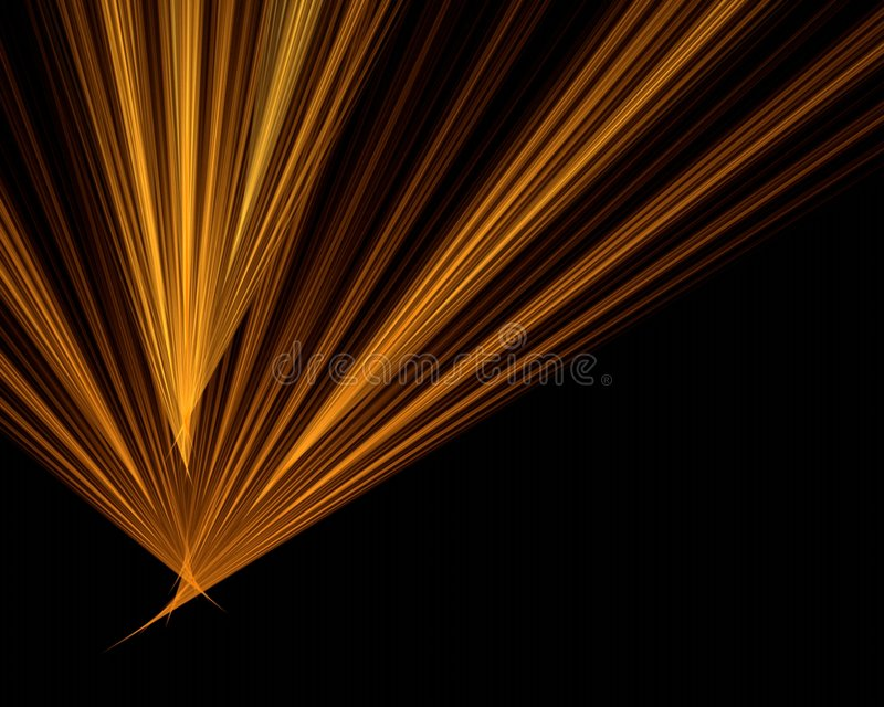 Orange Strahlen auf schwarzem Hintergrund lizenzfreie abbildung