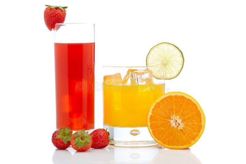 Orange And Strawberry Juice Royalty Free Stock Images