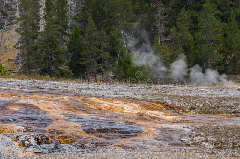 Orange streaks and sulfur in Yellowstone National Park stock image