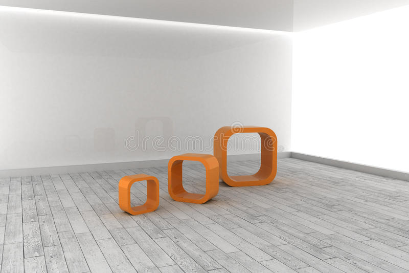 Download Orange Structures In A Grey Room Stock Illustration - Image: 37388892