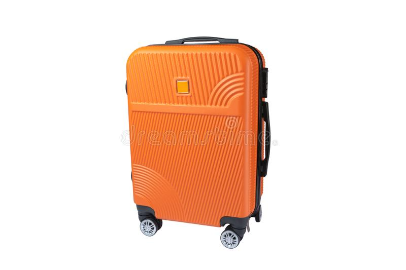 Orange suitcase isolated on white background for summer, vacation concept.  royalty free stock images