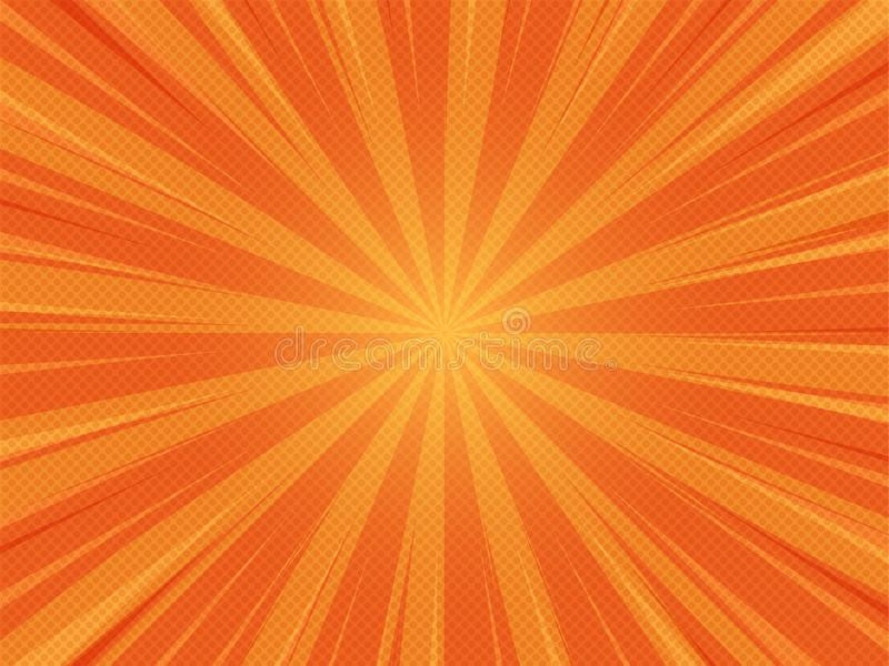 Orange Summer Abstract Comic Cartoon Sunlight Background. Vector Illustration royalty free stock photo