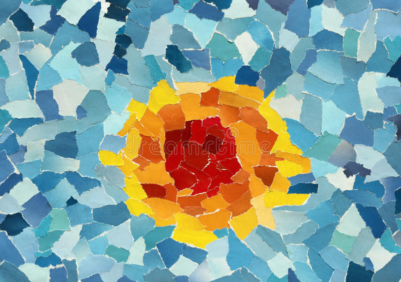 Orange sun in blue sky. Made from many pieces of torn paper stock images