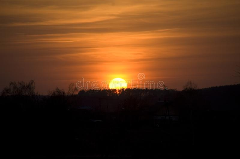 Orange sun at sunset intersected by orange-gray. Orange sun at sunset, intersected by orange-gray clouds, which sets behind silhouettes of tree crowns royalty free stock images