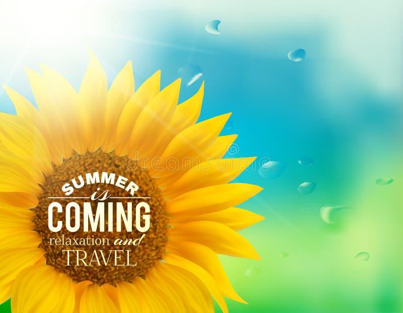 Orange sunflower with spring background. stock illustration