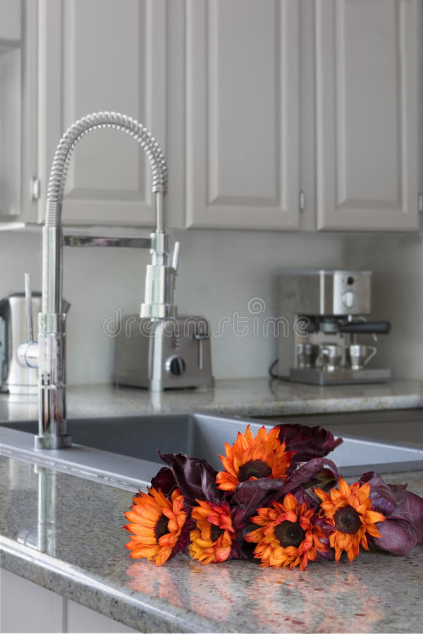 Orange sunflowers on a modern kitchen counter royalty free stock images