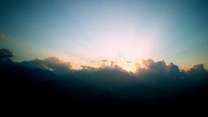 Orange sunrise above mountain in valley Himalayas mountains stock photos