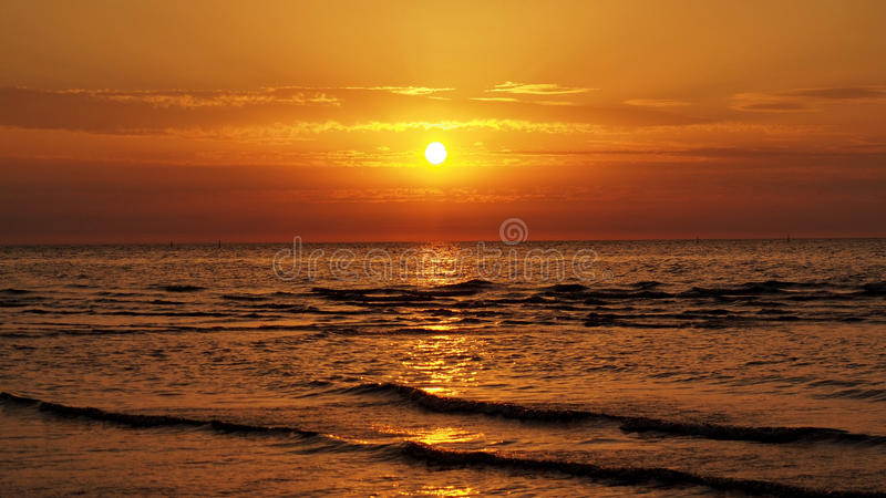 Orange sky at sunset. Sunset and orange sky over Baltic sea royalty free stock image