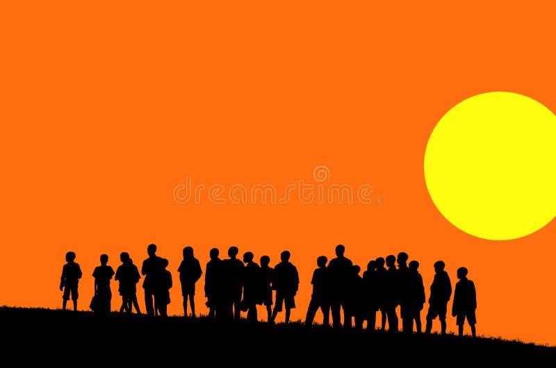 Download Orange sunset illustration stock vector. Image of darkness - 2460366