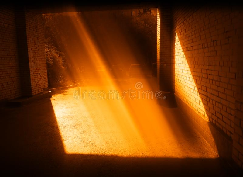 Orange sunset light leak at Moscow suburbs background. Diagonal orientation vivid vibrant color bright rich composition design spacedrone808 concept element royalty free stock images
