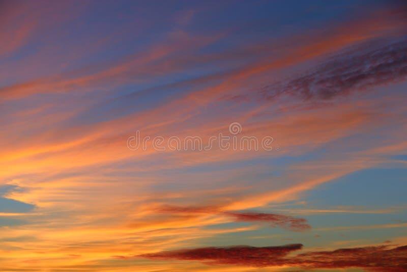 Orange sunset before night. Twilight with bright sunset. Evening landscape royalty free stock photography
