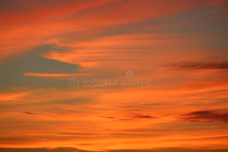 Orange sunset before night. Twilight with bright sunset. Evening landscape royalty free stock image