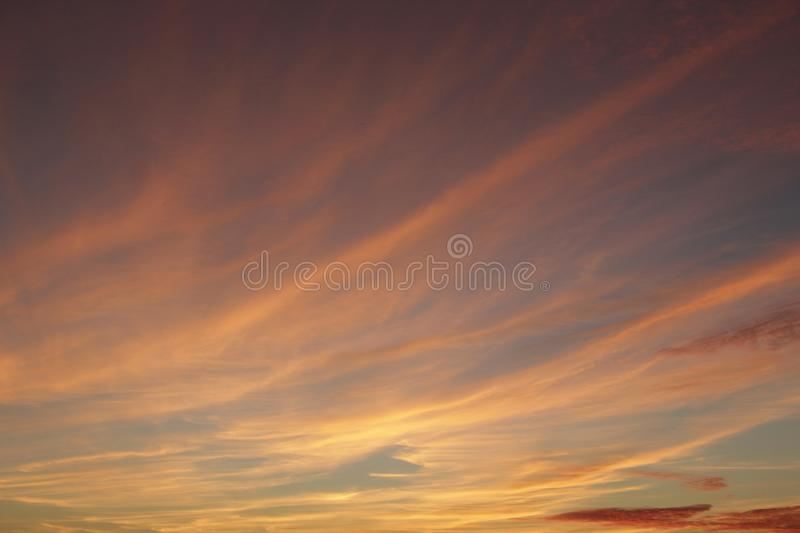 Orange sunset before night. Twilight with bright sunset. Evening landscape royalty free stock photography