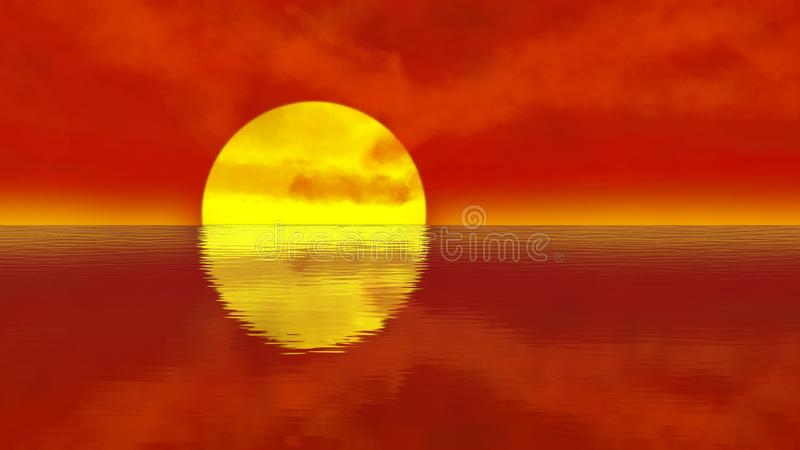 Orange sunset over calm water ripples vector illustration