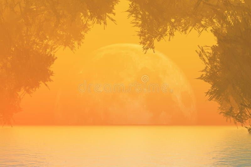 Orange sunset over lake vector illustration
