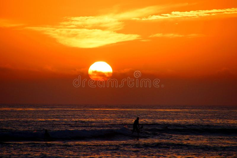 Orange sunset over the Pacific with paddle-boarders royalty free stock photo