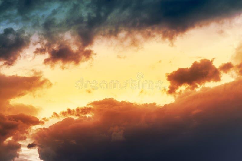 Orange sunset sky background. Vibrant red dawn sunrise image.  stock photos