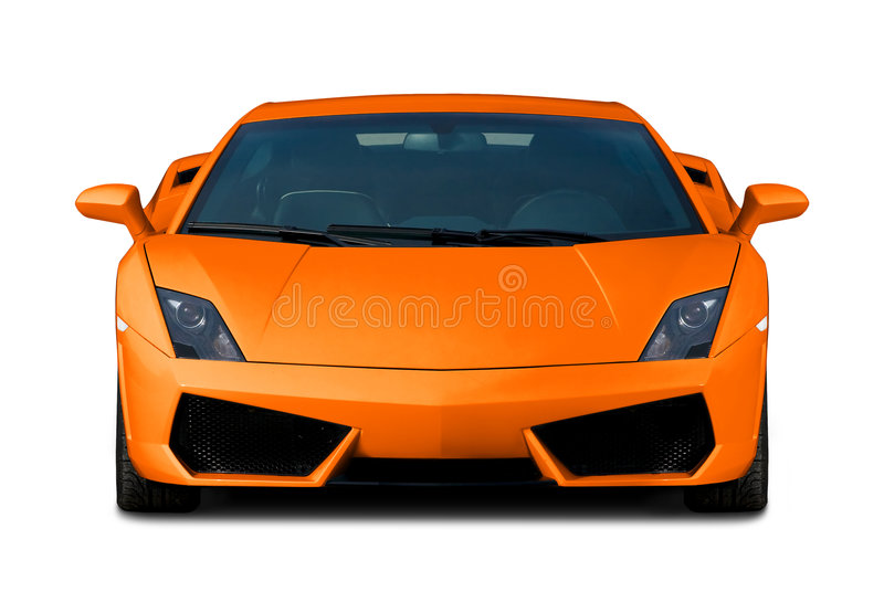 Orange supercar. Vorderansicht. lizenzfreies stockbild