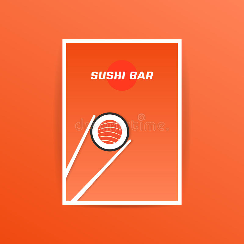 Orange sushi bar card with chopstick. Concept of nori, natural nutrition, presentation, announcement, ad notice, advt, oriental, commerce. flat style trend royalty free illustration