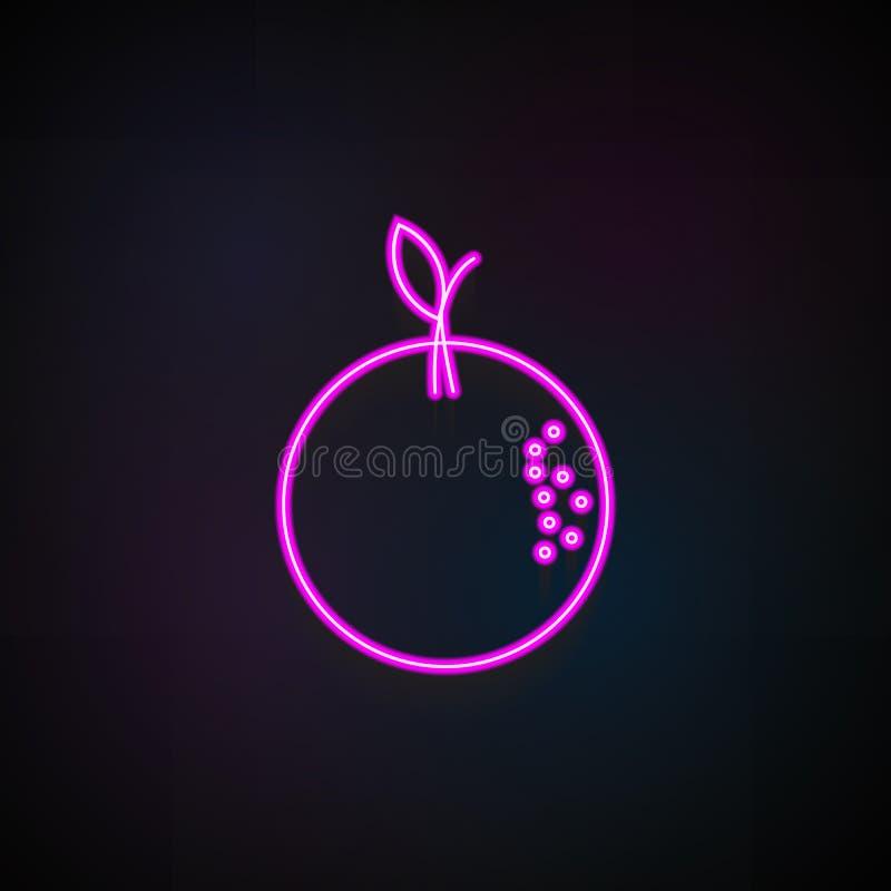 Orange symbol Beståndsdel av fruktsymboler för mobila begrepps- och rengöringsdukapps Kan den orange symbolen för neon användas f vektor illustrationer