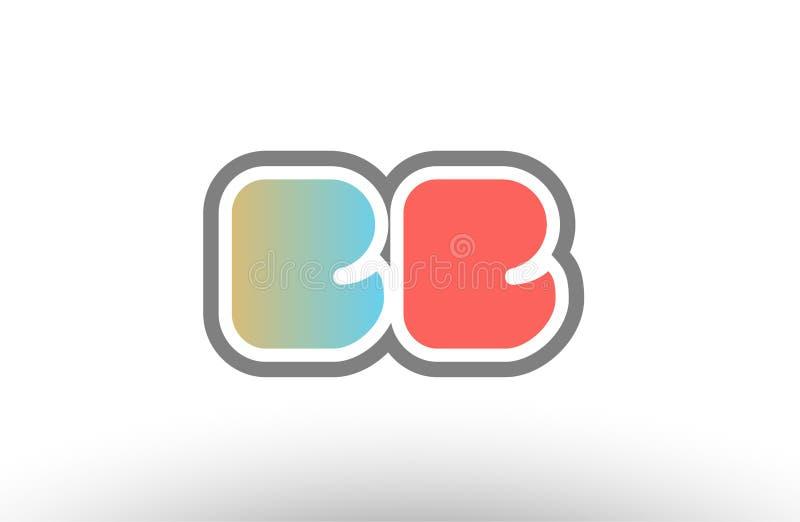 orange symbol för kombination för logo för bb b b för bokstav för pastellblåttalfabet vektor illustrationer