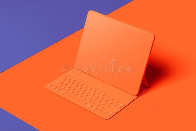 Orange tablet with blank screen on orange and violet background. 3d rendering. vector illustration