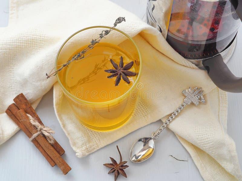 Orange te med timjan- och anisstjärnan Värmevinterdrink Selektivt fokusera royaltyfria foton